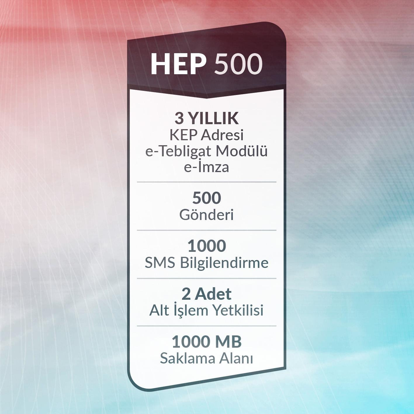 e-Tebligat Hepsi Bir Arada HEP500 Paketi