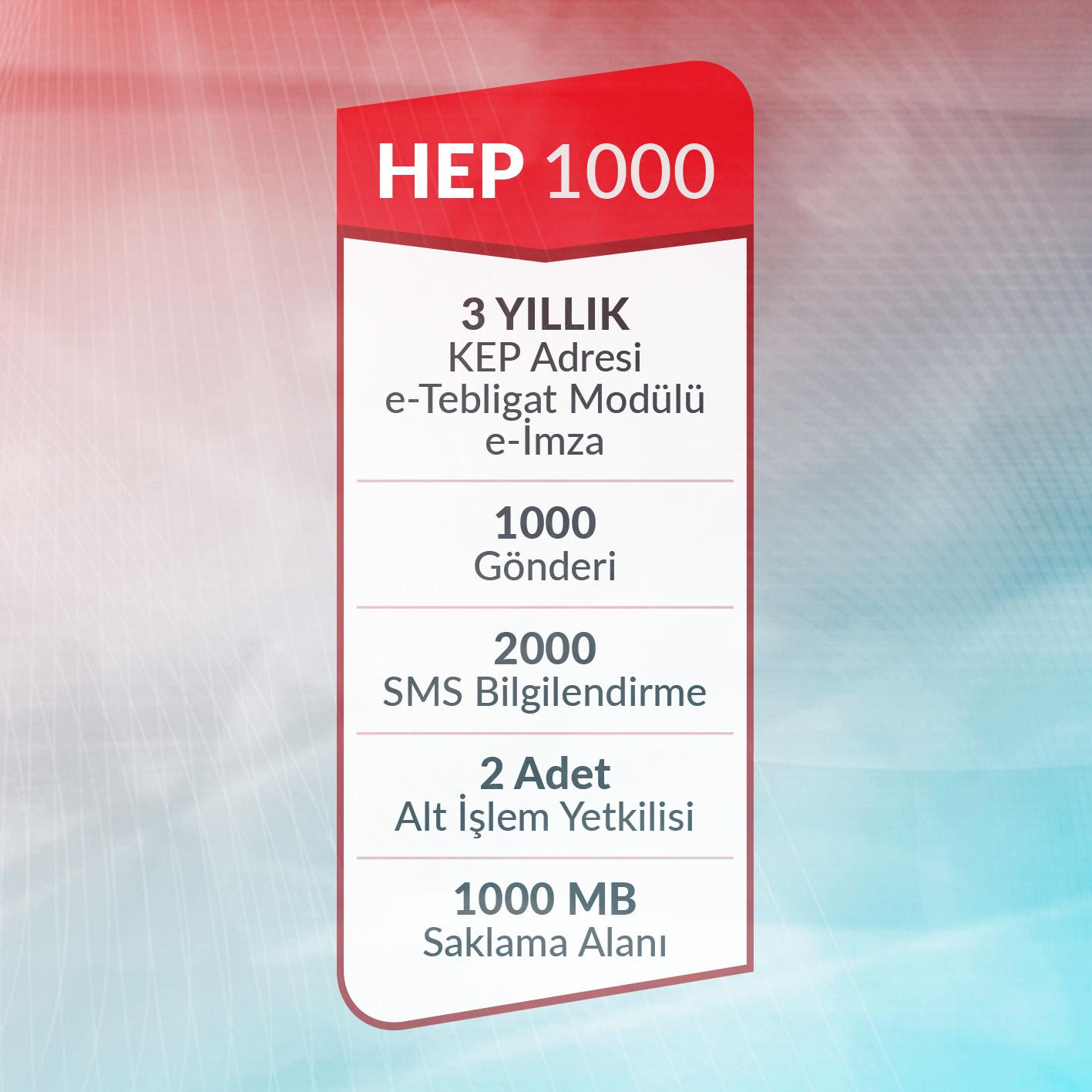 e-Tebligat Hepsi Bir Arada HEP1000 Paketi