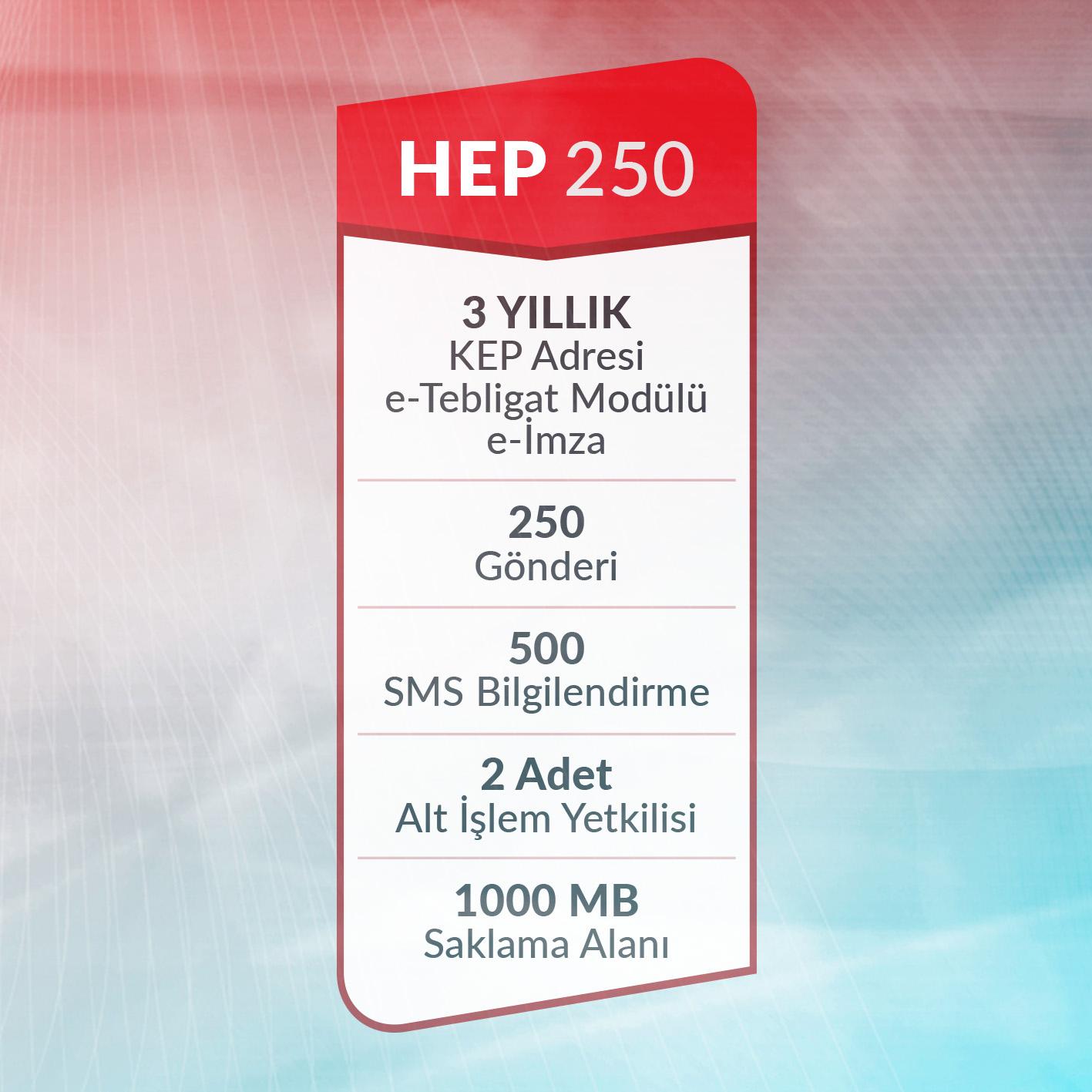 e-Tebligat Hepsi Bir Arada HEP250 Paketi